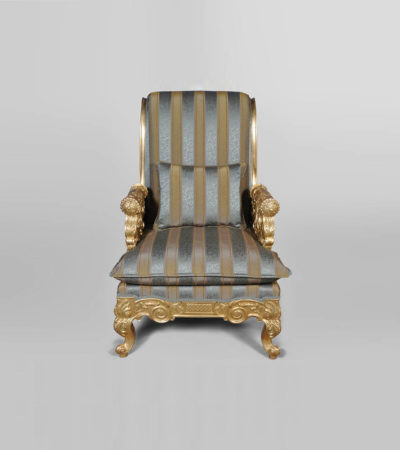 Gilded French Armchair with Hand Carved Wood and Luxury Upholstery Front