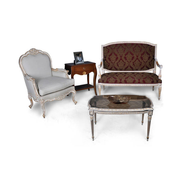 Gilded French Sofa with Arm Chair Seating and Chairs