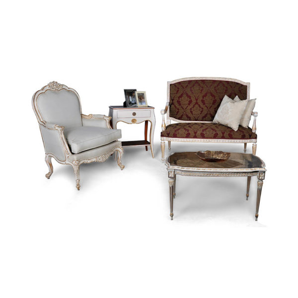 Gilded French Sofa with Cushions Seating and Chairs