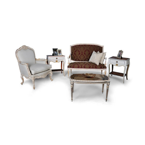 Gilded French Sofa with Cushions Table Seating and Chairs