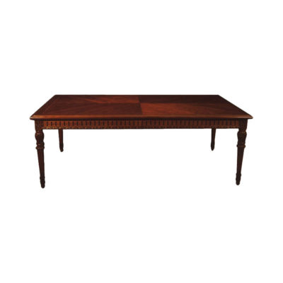 Luxurious Antique Dining Table with Wooden Veneer Inlay