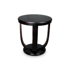 Mathieu Wooden Round Side Table with Curved Leg