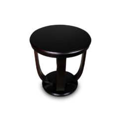 Mathieu Wooden Round Side Table with Curved Leg Top