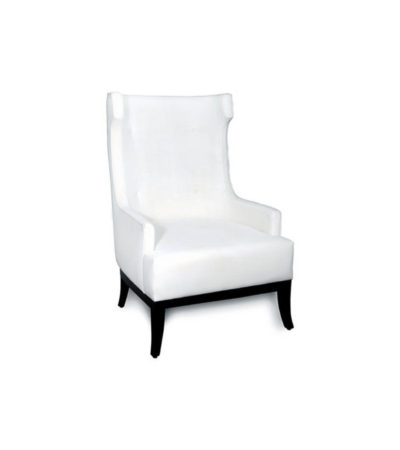 Matias Upholstered Wing Back Armchair with Black Legs Beside View