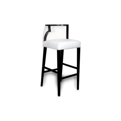 Milo Upholstered Bar Stool with Arms and Curved Back Side View