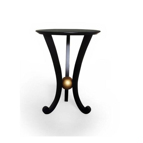 Moritz Circular Black 3 Legged Side Table Front