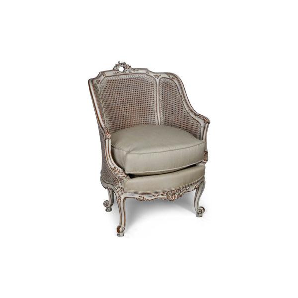 Rattan Back Armchair Plus Seat Cushion Beside View