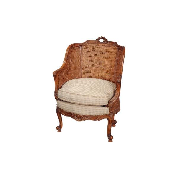 Rattan Back Armchair Plus Seat Cushion Brown