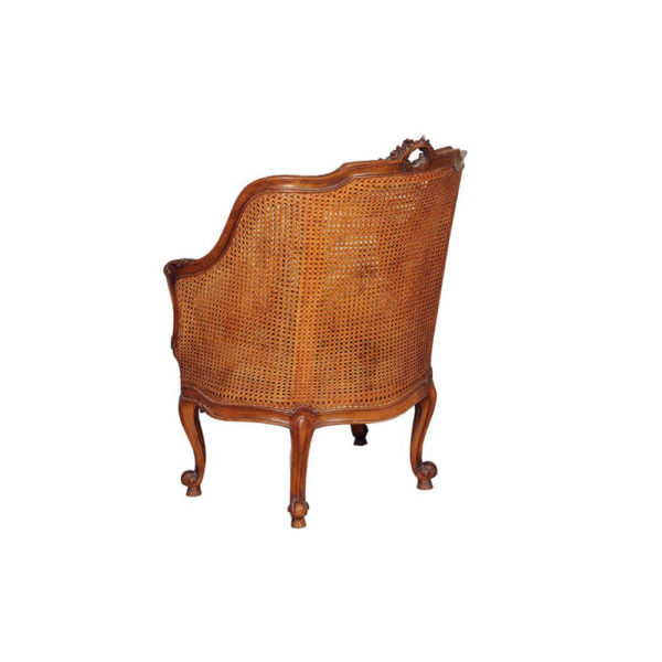Rattan Back Armchair Plus Seat Cushion Brown Back