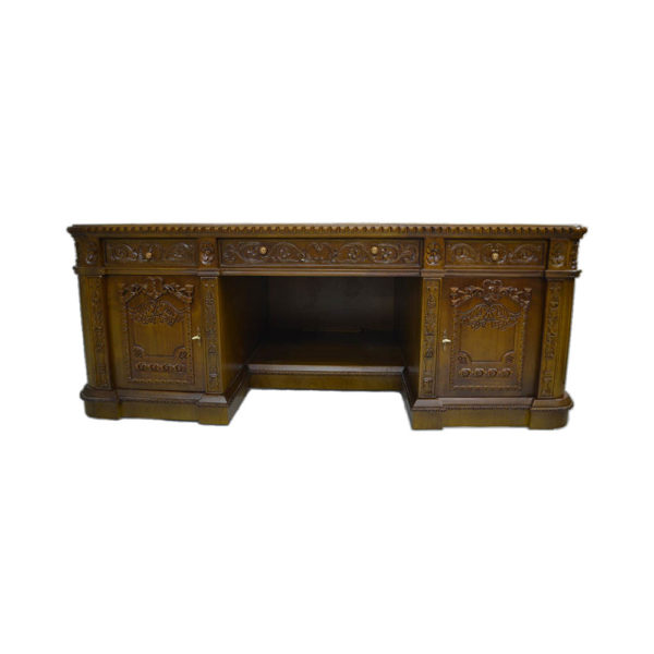 Resolute Desk with Hand Carved Detailed Front View