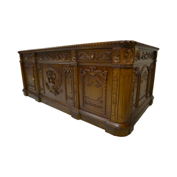 Resolute Desk with Hand Carved Detailed Side View
