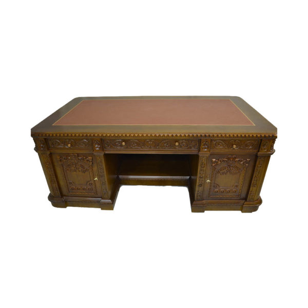 Resolute Desk with Hand Carved Detailed Top View