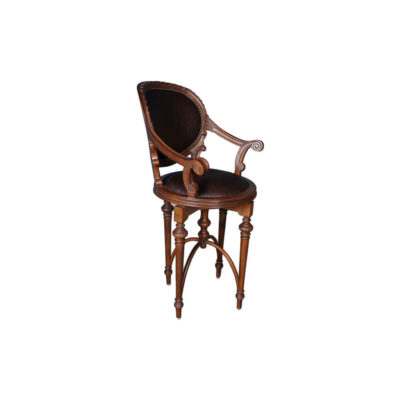 Rotating English Bar Stool Leather Hand Carved
