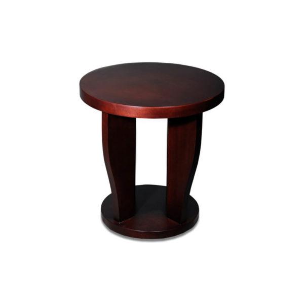 Ruben Brown Round Wood Side Table Veneer B