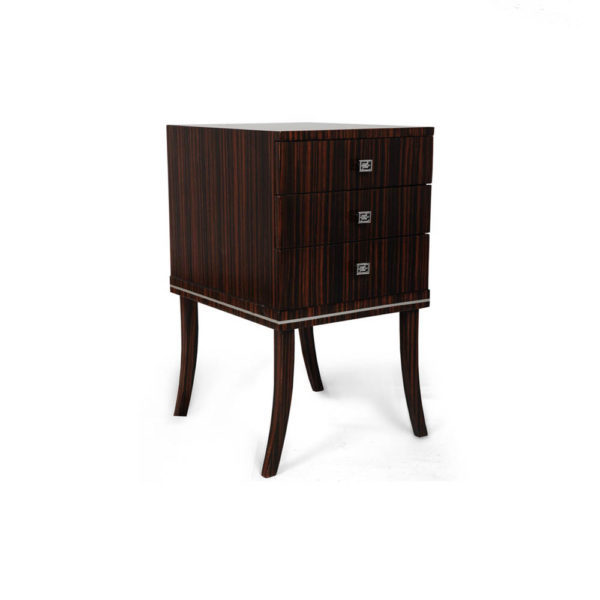 Silvio Three Drawer Bedside Table Side View