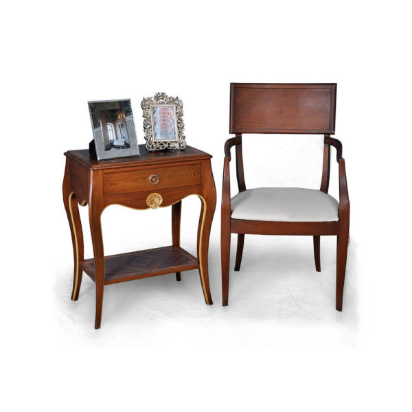 Solid Wood Dining Armchair with Side Table