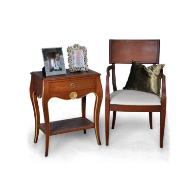 Solid Wood Dining Armchair with Side Table and Cushion