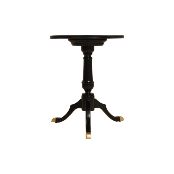 Theo Black Round Wooden Side Table Front