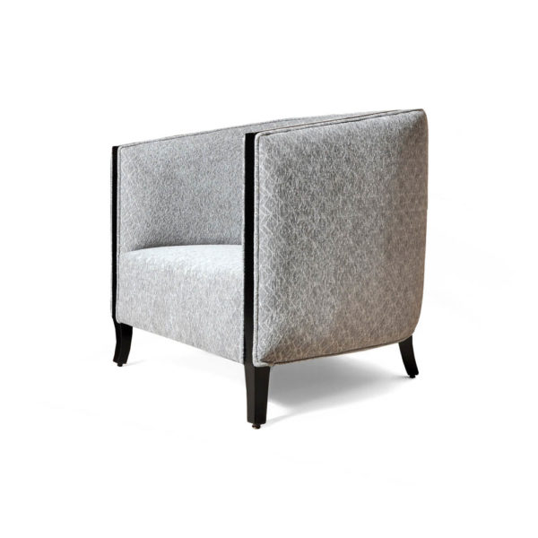 Theo Upholstered with Wooden Frame Armchair Side View