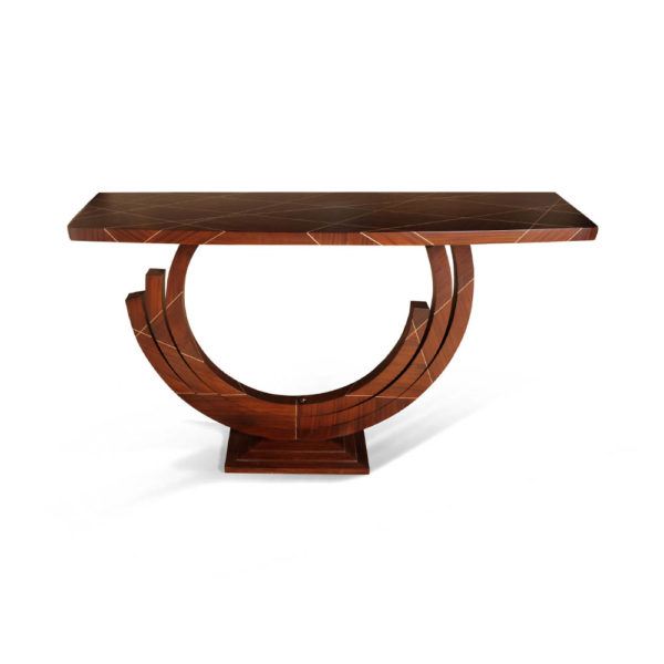 Tobias Brown Curved Console Table Front
