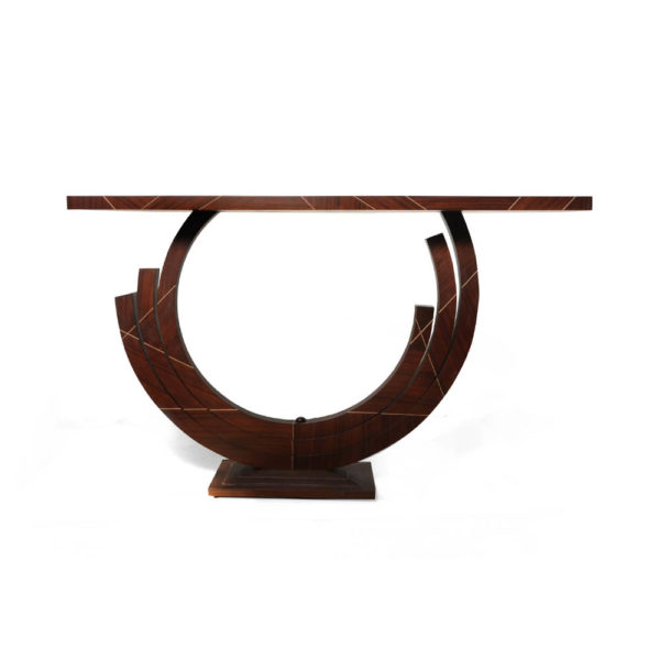 Tobias Brown Curved Console Table Front View