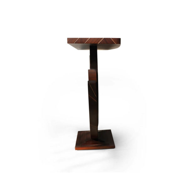 Tobias Brown Curved Console Table Side View