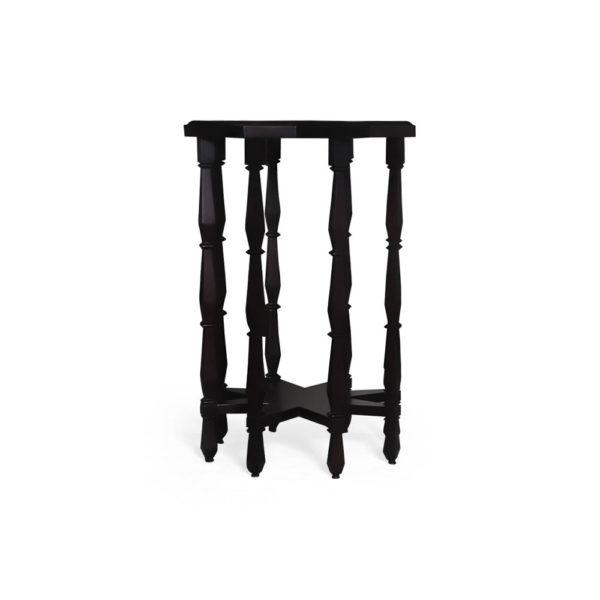 Ulysse Star Black Wooden Side Table Front