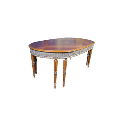 Antique Style Dining Table with Hand Carved Wood Sculptures 8 Legs