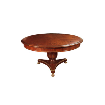 Antique Round Dining Table with Natural Veneer