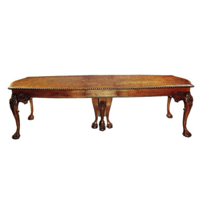 English Antique Chippendale Style Dining Table with Hand Carved Wood Sculptures