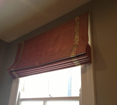 Custom Made Roman Blind with Stunning Decorative Trim