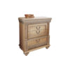 Antique Bedside Table with Hand Carved Beach Wood 1
