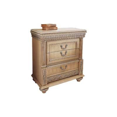 Antique Bedside Table with Hand Carved Beach Wood