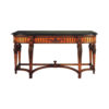 Antique Console Table with Detailed Hand Carved Wood and Marble Top 1