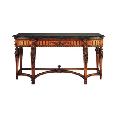 Antique Console Table with Detailed Hand Carved Wood and Marble Top