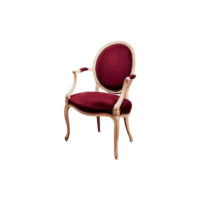 Antique French Style Oval Armchair Dark Red Velvet Upholstery Fabric