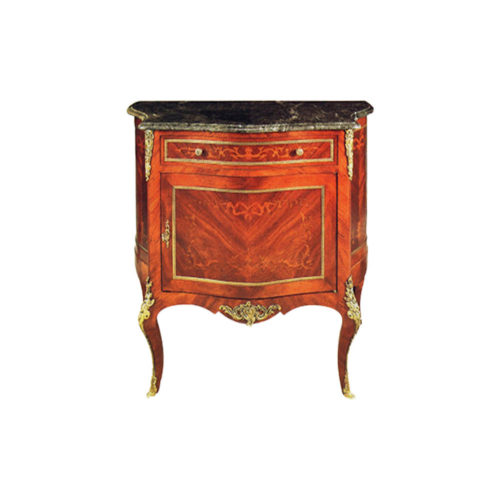 Antique Wooden Chest with Marble Top and Marquetry Natural Veneer Inlay