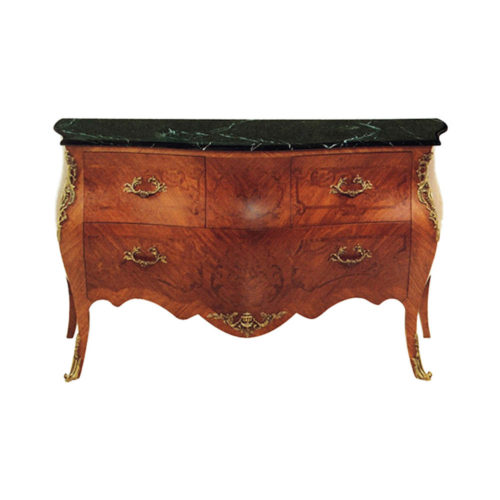 Chest Of Drawers with Natural Veneer and Marble Top