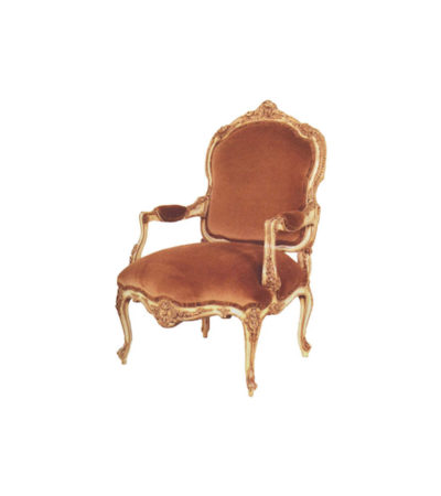 Classic Carved Armchair Upholstery English Red Velvet