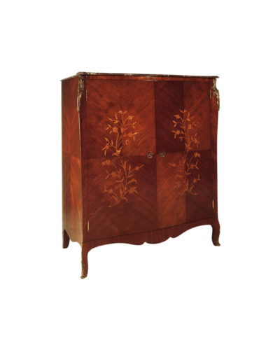 Easdown Wooden Veneered Armoire Wardrobe Brass Ornate