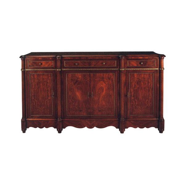 Ebony Luxury French Sideboard Handmade Wooden Veneer
