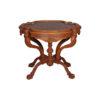 Elder Antique Round Veneered Table with Hand Carved Beechwood 1