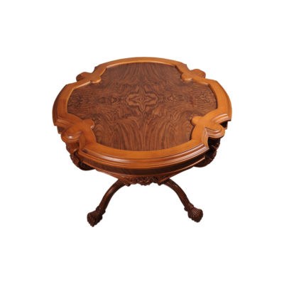 Elder Antique Round Veneered Table with Hand Carved Beechwood Top View