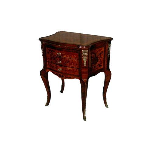 Eliseo Antique Marquetry Chest with 3 Drawers and Brass Ornament