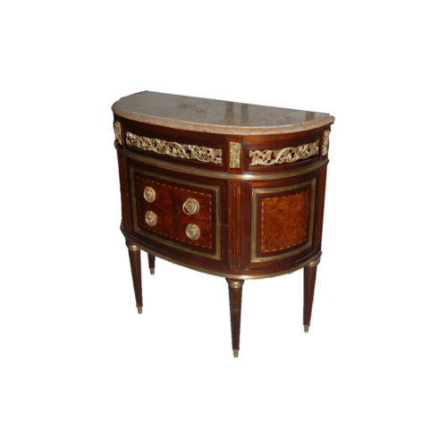 Elizbeth Antique Wooden Chest with Marble Top and Brass Ornament