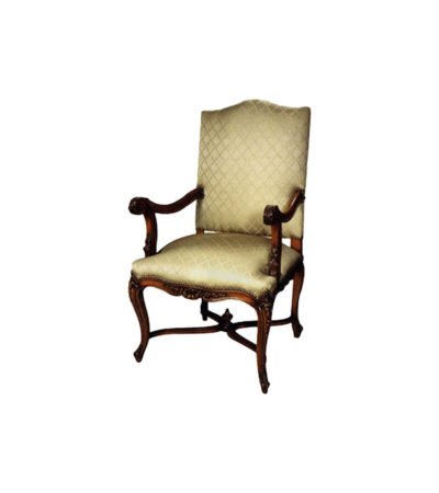 English Style Armchair Hand Carved Detailed Upholstery Luxury Fabric