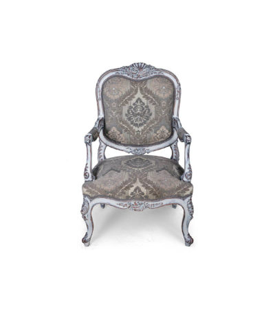 French Antique Style Armchair Detailed Distressed Paint