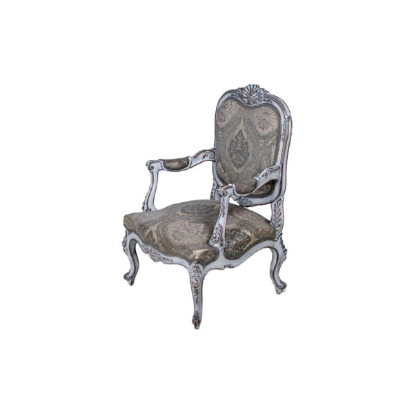 French Antique Style Armchair Detailed Distressed Paint Side View