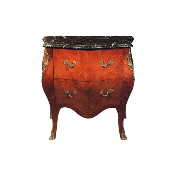 French Chest of 2 Drawers with Marble Top and Veneer Inlay