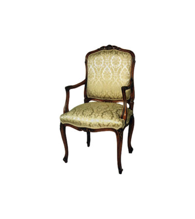 French Classic Armchair Hand Carved Detailed Upholstery Luxury Fabric